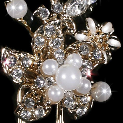 * Fabulous Gold Clear Crystal & White Pearl Flower Hair Pin 796
