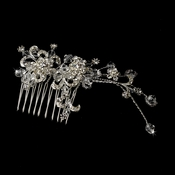 * Glittering Silver Floral Hair Comb w/ Clear Rhinestones & Austrian Crystals 7085