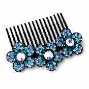 * Adorable Black Flower Comb w/ Blue Rhinestones & Aurora Borealis Crystals 6729