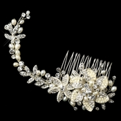 Silver Freshwater Pearl Rhinestone Floral Vine Hair Comb 42