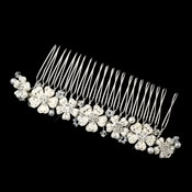 Silver White Pearl Rhinestone & Bugle Bead Floral Hair Comb 43
