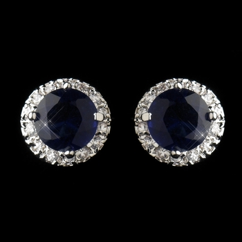 Antique Silver Rhodium Sapphire CZ Crystal Stud Earrings 5601 ***Discontinued***
