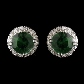 Antique Silver Rhodium Emerald CZ Crystal Stud Earrings 5601