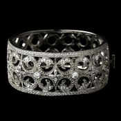Antique Silver Rhodium Clear CZ Crystal Vintage Bangle Bracelet 1405