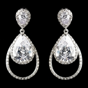 Antique Silver Rhodium Clear CZ Crystal Drop Earrings 1415
