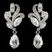 Antique Silver Rhodium Clear CZ Crystal Drop Earrings 1419