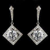 Antique Silver Rhodium Clear CZ Crystal Vintage Drop Earrings 1821