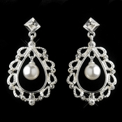 Silver White Pearl & Rhinestone Chandelier Earrings 26599