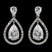 Antique Silver Rhodium Clear CZ Crystal Drop Earrings 4026