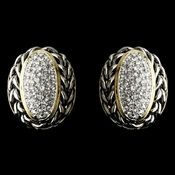 Gold with Silver Rope Wrap and Clear Crystal Center Earrings 7146