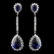 Antique Silver Rhodium Sapphire CZ Crystal Drop Earrings 7244