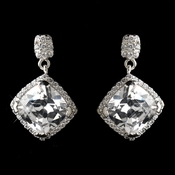 Antique Rhodium Silver Clear Diamond Shaped CZ Crystal Drop Earrings 7846