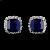 Antique Silver Rhodium Sapphire & Clear Cushion CZ Crystal Cut Stud Earrings 7851