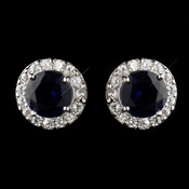 Antique Silver Rhodium Sapphire CZ Crystal Stud Earrings 9065