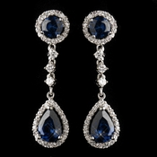 Antique Silver Rhodium Sapphire CZ Crystal Drop Earrings 9116