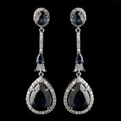 Antique Silver Rhodium Sapphire CZ Crystal Drop Earrings 9123