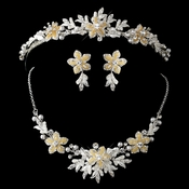 Gold Champagne Flower Accent & White Pearl Matching Floral Tiara Necklace & Earrings Jewelry Set 8100