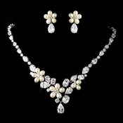 Antique Silver Freshwater Pearl & CZ Crystal Necklace & Earrings Jewelry Set 1310