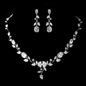 Antique Silver Clear CZ Crystal Necklace & Earrings Jewelry Set 1311