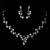 Antique Silver Rhodium Clear CZ Crystal Necklace & Earrings Jewelry Set 1324***Discontinued***