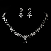 Antique Silver Rhodium Clear CZ Crystal Necklace & Earrings Jewelry Set 1403