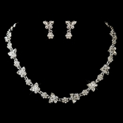 Silver Clear Rhinestone Necklace & Earrings Floral Butterfly Jewelry Set 2876