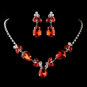 Silver Red & Clear Rhinestone Necklace & Earrings Jewelry Set 47003