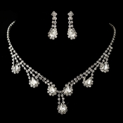 Silver Clear Rhinestone and Drop Necklace & Earrings Jewelry Set 47012