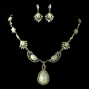 Gold Mint Green Opalescent Moonglass Necklace & Earrings Jewelry Set 8158