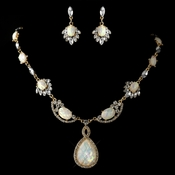 Gold White Opalescent Moonglass Necklace & Earrings Jewelry Set 8158***Discontinued***