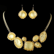 Gold Light Topaz Opalescent Moonglass Necklace & Earrings Jewelry Set 8159