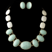 Gold Mint Green Faceted Bead Tribal Fashion Necklace & Earrings Jewelry Set 8160