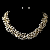 Gold White Faceted Bead Multi Strand Interweaved Fashion Necklace & Earrings Jewelry Set 8162