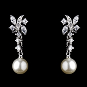 Elegant Floral CZ Flair Dangle Earring with Ivory Faux Pearl Accent in Silver 8765