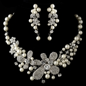 Antique Silver Diamond White Pearl & Rhinestone Necklace & Earrings Jewelry Set 9698