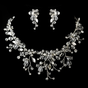 Silver Clear Crystal & Rhinestone Necklace & Earrings Jewelry Set 9699