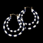 Gold Blue Hoop Fashion Earrings 8403