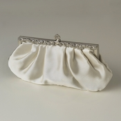 Cream Satin Evening Bag 309 with Rhinestone Accented Vintage Frame