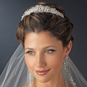 Silver Clear Princess Cut Swarovski Crystal & Rhinestone Bridal Tiara Headpiece 6566