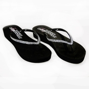 Sunshine ~ Low Heel Black Wedge Flip Flops with Crystal Straps