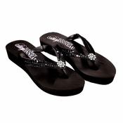 Summer ~ Low Heel Black Wedge Flip Flops with Sequins & Swarovski Crystals