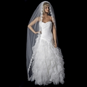 Single Layer Cathedral Length Bridal Veil with Scalloping Edge of Embroidery V 591 1C