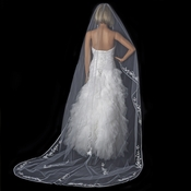 Single Layer Floral Embroidery Cathedral Length White Veil with Satin Ribbon Edge V 882