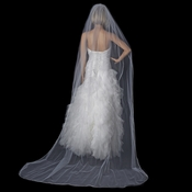 Bridal Wedding Single Layer Rattail Satin Corded Cathedral Length Veil VR 1C