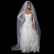 Single White Tier Cathedral Length Veil Accented in Flower Embroidery & Swarovsi Crystals V 67