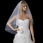Bridal Wedding Double Layer Elbow Ivory Beaded Edge Veil 131