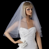 Bridal Wedding Double Layer Elbow Length Pearl & Bugle Beaded Edge Veil 174