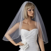 Bridal Wedding Single Layer Elbow Length Rattail Satin Corded Edge Veil VSH R 1E