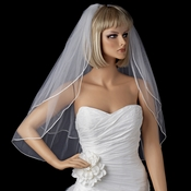 Bridal Wedding Double Layer Elbow Length Rattail Satin Corded Edge Veil VSH R E