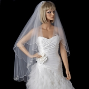 Bridal Wedding Double Layer Fingertip Length w/ Silver Embroidered Edge Veil 1317 1F